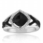 Enhanced Black Diamond 3.72 Carat Engagement Rings Solitaire Cushion Cut Solid Gold