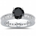 Black Diamond Rings 1.50 Carat Round Shape Solitaire Diamond Solid Gold