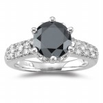 Black diamonds Ring 2.62 Carat Diamond Solitaire Ring Solid Gold