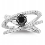 Artistry Black Diamond 2.00 Carat Solitaire Ring wz Accent Solid Gold