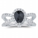 Black Diamond 2.96 Carat Solitaire Diamond Ring Pear Cut Solid Gold