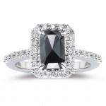 Black diamonds Ring 2.53 Carat Solitaire Diamond Ring wz Accent Radiant Cut  Solid Gold