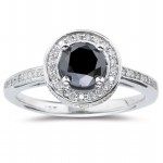 Enhanced Black Diamond 1.68 Carat Solitaire Black Diamond Ring Solid Gold