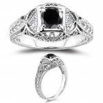 Cheap Black Diamond 1.12 Carat Solitaire Diamond Ring Round Cut Solid Gold