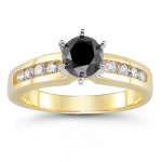 Cheap Black Diamond 1.29 Carat Solitaire Black Diamond Ring Princess Cut Solid Gold