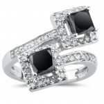 Black Diamond Rings 2.62 Carat Solitaire Engagement Rings Princess Cut Solid Gold