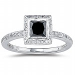 Black Stone 2.48 Carat Diamond Solitaire Ring Princess Cut Solid Gold