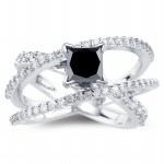 Artistry Black Diamond 2.25 Carat Solitaire With Accents Ring Princess Cut Solid Gold