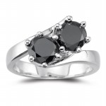 Black diamond Wedding Rings 2.16 Carat Diamond Solitaire Engagement Solid Gold
