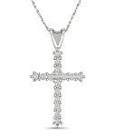 Religious Jewelry Cross 0.48 Ct Solid White Gold Religious Necklace Natural Certified