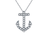 Anchor Pendant  0.44 Ct Diamond Solid White Gold Natural Certified
