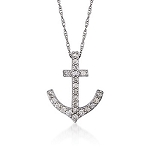 Diamond Anchor Pendant 0.33 Ct Solid White Gold Natural Certified