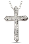Religious Diamond Necklaces Cross 0.75 Ct Diamond Solid White Gold Pendant Natural Certified