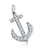 Anchor Pendant 0.46 Ct Diamond Solid White Gold Natural Certified