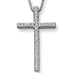 Religious Pendants Cross 0.72 Ct Diamond Solid White Gold Natural Certified