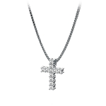 Religious Diamond Necklaces Cross 0.33 Diamond Ct Solid White Gold spiritual necklace Natural Certified