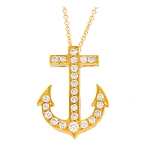 Diamond Anchor Pendant  0.72 Ct Solid Yellow Gold Natural Certified