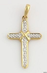 Religious Diamond Necklaces Cross 0.45 Ct Solid Yellow Gold Religious Pendants Natural Certified
