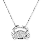 Zodiac Sign Necklace Cancer 0.55 Ct Diamond Solid White Gold  Astrology jewelry Natural Certified