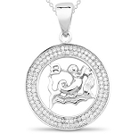 Zodiac Pendants Aquarius 1.00 Ct Diamond  Solid Gold Horoscope Necklace Natural Certified