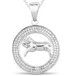 Zodiac Necklace Leo 1.00 Ct Diamond White Gold Powerful symbolic Natural Certified
