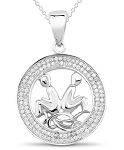 Horoscope Necklace Gemini 1.00 Ct Diamond Solid Gold Zodiac Pendants Natural Certified