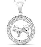 Astrology jewelry Taurus 1.00 Ct Diamond White  Gold Horoscope Necklace Natural Certified