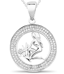 Powerful symbolic Virgo 1.00 Ct Diamond Solid Gold Horoscope Necklace Natural Certified