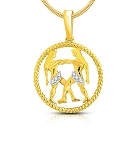 Zodiac Sign Jewelry Gemini 0.12 Ct Diamond Yellow  Gold Astrology jewelry Natural Certified