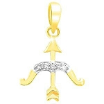 Astrology jewelry Sagittarus 0.10 Ct Diamodn Solid Yellow Gold Horoscope Necklace Natural Certified