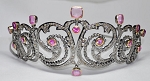 Brithday Tiara 19.10 Ct Certified Diamond Tourmaline Sterling Silver Bridal Headpieces