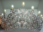 Tiaras And Crowns 21.45 Ct Certified Diamond Pearl Sterling Silver Headband