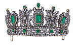 Diamond Tiara 14.20 Ct Certified Diamond Emerald Sterling Silver Antique Reprodcution