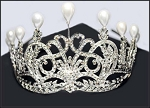 Princess Tiara And Crown 20.86 Ct Certified Diamond Pearl Sterling Silver Mugal Inspried