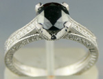 Enhanced Black Diamond 1.78 Carat Solitaire Diamond Ring Solid Gold