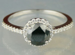 Black diamond Wedding Rings 1.67 Carat Solitaire With Accents Solid Gold