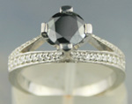 Black Diamond Rings 1.41 Carat Solitaire Engagement Rings Solid Gold