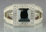 Black Diamond Rings 3.20 Carat Solitaire Diamond Princess cut Solid Gold