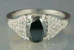 Artistry Black Diamond 1.71 Carat Oval Cut Solitaire With Accents Ring Solid Gold