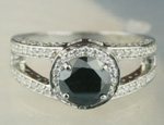 Black diamond Ring 1.89 Carat Solitaire Diamond wz Accent Solid Gold