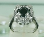 Black diamond Ring 3.77 Carat Solitaire Diamond With Accents Solid Gold