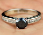 Black diamond Wedding Rings 1.45 Carat Solitaire Diamond wz Accent Solid Gold