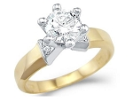 1 Carat Solitaire Diamond Ring Solid Yellow Gold Engagement Anniversary Natural Certified