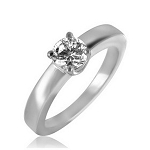 Single Diamond Ring 1.04Ct Solid White Gold Engagement Natural Certified
