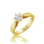 Solitaire Diamond Ring 0.60Ct Yellow Gold Engagement Natural Certified