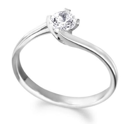 Solitaire Diamond Ring with  Solid White Gold