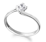 Solitaire Diamond Ring 0.50Ct Solid White Gold Engagement Natural Certified