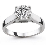 1 Carat Solitaire Diamond Ring Solid White Gold Anniversary Natural Certified