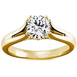 1.5 Carat Solitaire Diamond Ring Round Shape Solid Yellow Gold Natural Certified