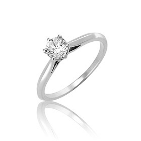 Diamond Solitaire Ring with Solid White Gold
